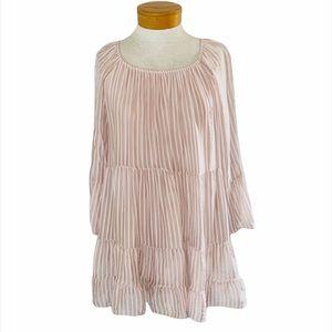 Belle France pink striped babydoll top